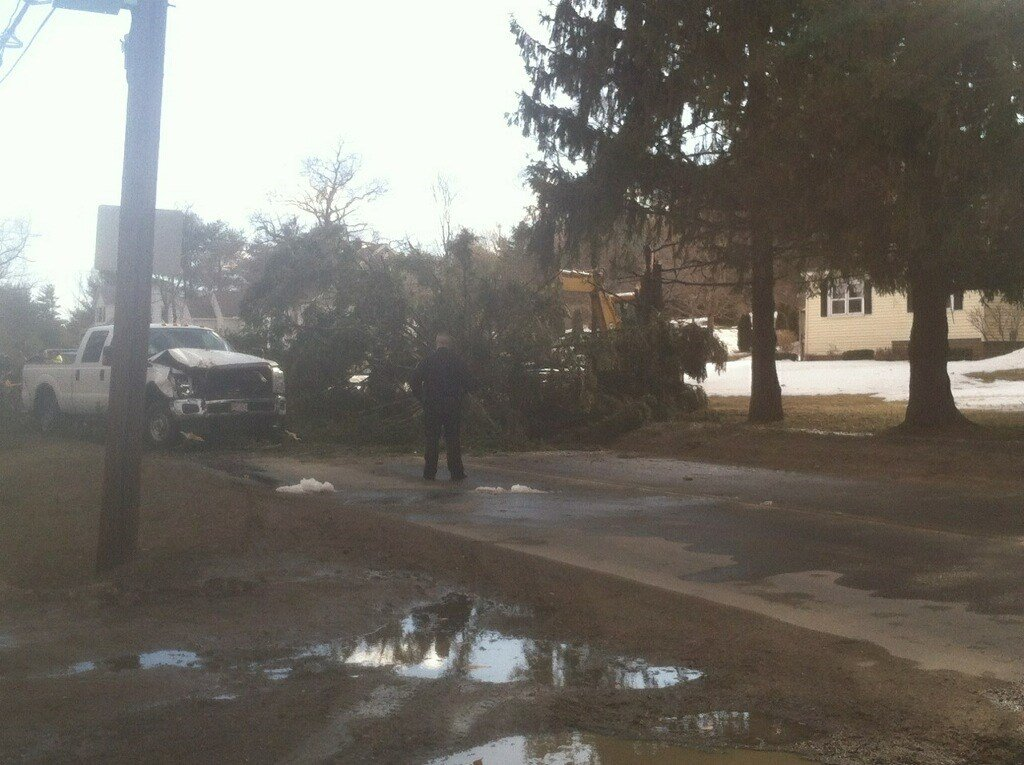 A tree blocked East Mountain Road in Westfield during the evening rush hour on Tuesday afternoon.