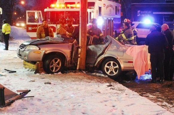 Single-car accident on St. James Avenue in Springfield (Dave Canton / MassLive & Republican)