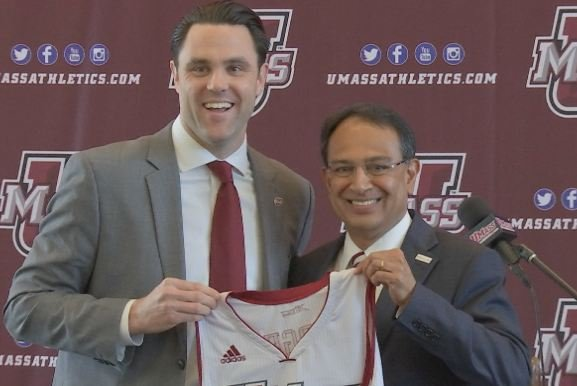 New UMass Athletic Director Ryan Bamford with UMass Chancellor Kumble Subbaswamy during Tuesdays introduction ceremony.