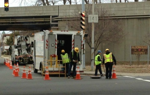 Chicopee Electric Crews work to restore power after a transformer exploded on Tuesday morning.