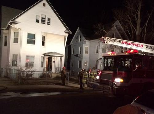 Firefighters were called to 60 Scott Street for a bedroom fire in a 3-floor home on Monday night. (Dennis Leger / Springfield Fire Department)