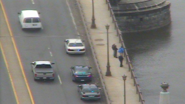 Police are searching for the jumpers on the Memorial Bridge, just south of the North End Bridge.