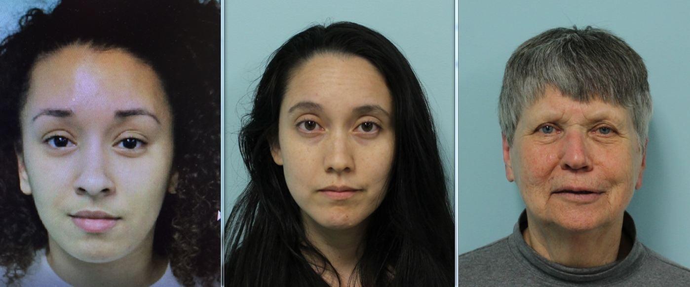 Mug shots of Jozlyn M. Squaire, Emily Douglass and Ellen Graves. (Source: SPD)
