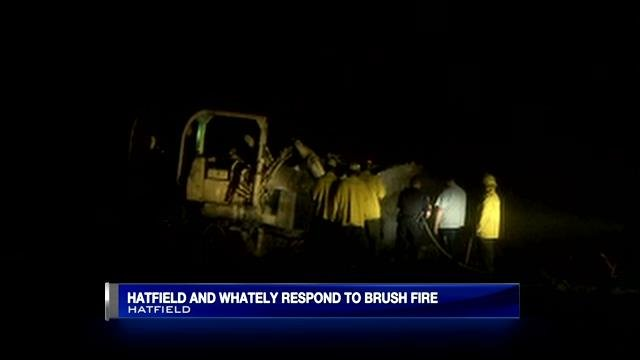 A bulldozer was called in to assist with a Hatfield brush fire Monday night.