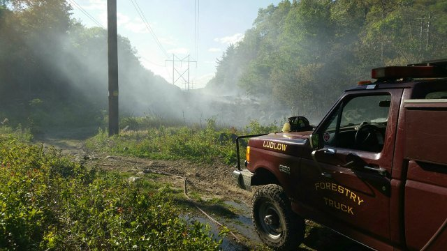 Crews battled a brush fire in Ludlow that burned 12.5 acres Friday evening. (Source: Contributed)