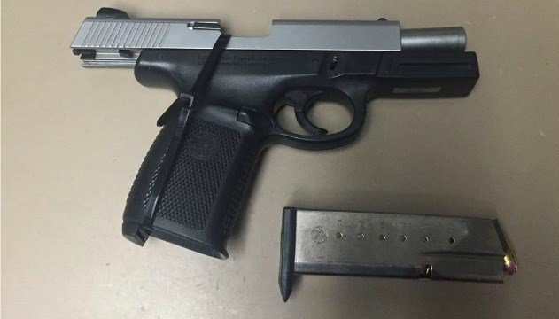 State police seized an illegal handgun from a Springfield resident after he was pulled over for having a loud exhaust system in Holyoke. (Source: MSP)