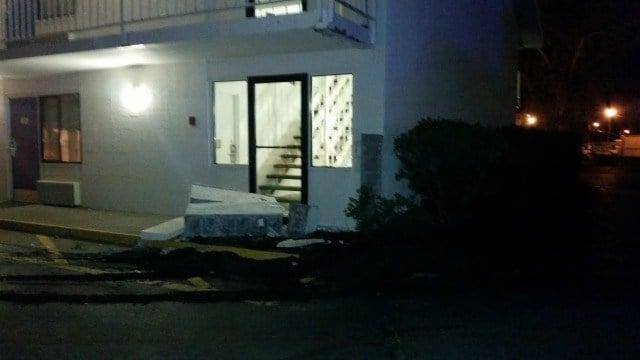 The truck damaged the Motel 6 on Burnett Road in Chicopee.