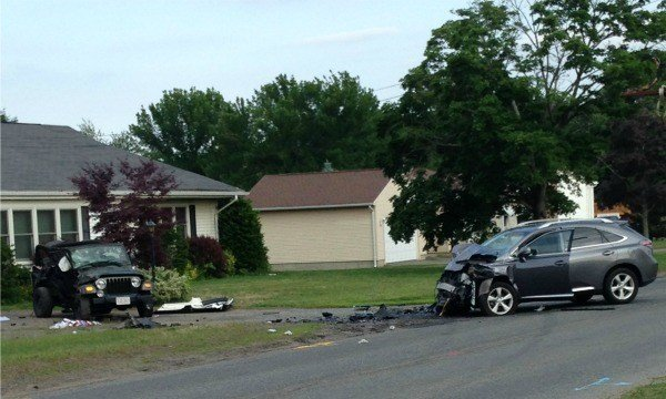 A Jeep Wrangler was involved in a head-on collision with a Lexus SUV on North Westfield Street in Agawam Monday evening.