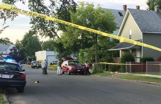 Several evidence markers were placed in front of 25 Reed St. following a shooting Tuesday evening.