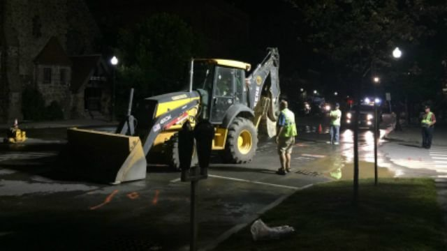 Main Street in Greenfield was closed Thursday night due to a water main break.