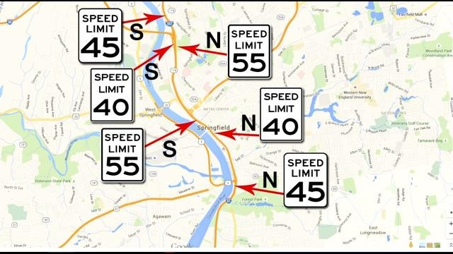 Map depicting speed changes along I-91 beginning Tues. Aug. 18 (Western Mass News image)