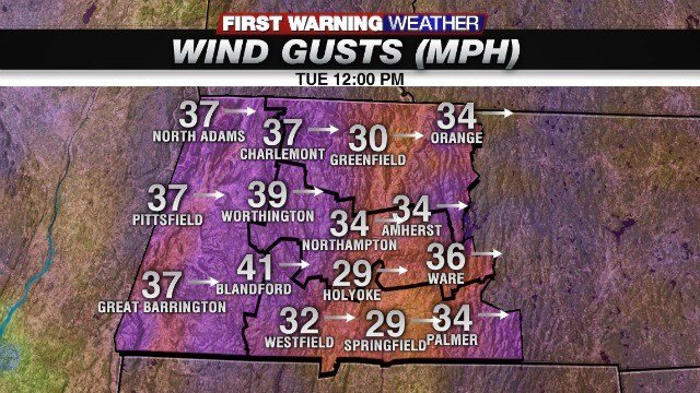Forecasted wind gusts at 12 p.m. Tuesday (Western Mass News image)