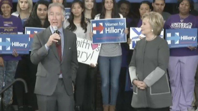 Rep. Richard Neal introduces Clinton at Monday's event (Western Mass News photo)
